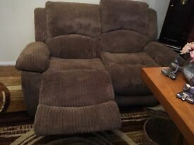 Reclining 2 seater sofa and 1 chair. Will sell separately.