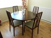 Mahogany Round Dining Table & 4 Chairs