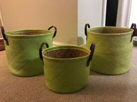Lovely green baskets set of 3