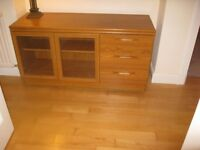 Wood sideboard with 2 glass doors and 3 drawers
