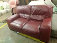 Leather 2 seater sofa red