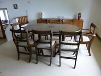 Regency style vintage solid wood dark dining table + 8 chairs, seats 8-10 people (12 at a squeeze!)
