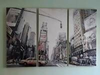 Set of 3 New York Art picture prints - Times Square - brilliant condition