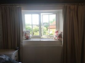 Two pairs of immaculate, bespoke Laura Ashley curtains. Red, grey and cream striped.