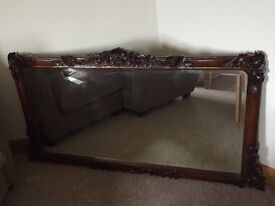Large solid wood over mantle mirror