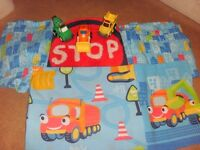 CATHERINE LANDSFIELD BOYS TRUCKS BEDDING QUILT PILLOWCASE CURTAINS RUG & FITTED SHEET