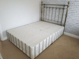 """4ft6"""" Double divan bed complete with headboard. Very good condion. No marks."""
