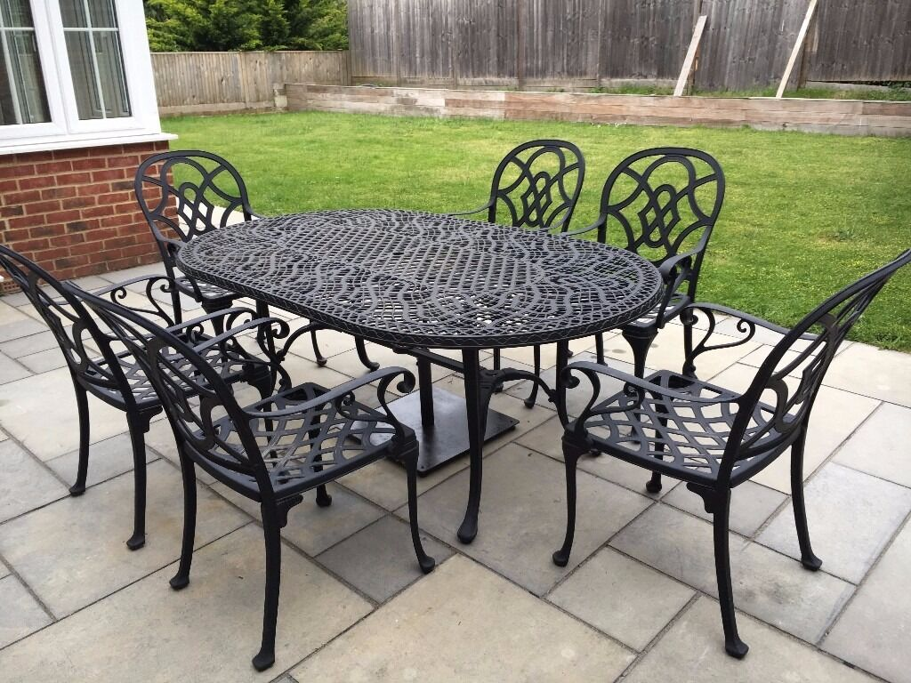 Nova heritage cast aluminium outdoor table and chairs set in kingston london gumtree - Garden furniture table and chairs ...