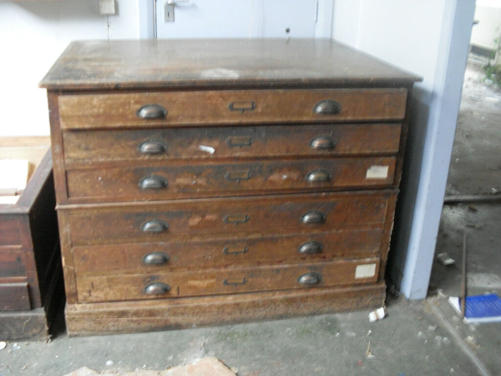 Vintage Map Plan 6 Drawer Wooden Chest Large Plus 3 Included