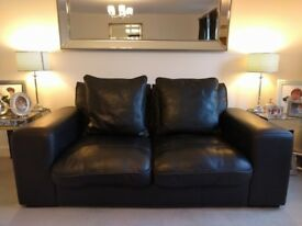 x1 DFS Zennah Black Leather Sofa Bought for £1295 - Very Good Condition