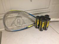 Squash racket & Squash balls for sale.
