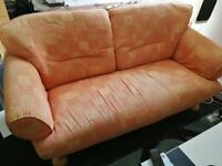 Orange 2 Piece Sofa and Chair with Footstool (Courts)