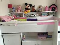 Reece Cabin Bed, White (GLTC) +Wardrobe+Chest Of Drawers bought 2013 Receipts