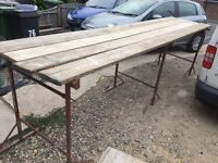 3 x Builders Tressels and 4 x Scaffolding Boards 13 foot length