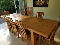 VERY LARGE LIGHT OAK DINING TABLE + 10 CHAIRS ( LEATHER SEATS) EXTENDABLE 220-310 CM, SOLID