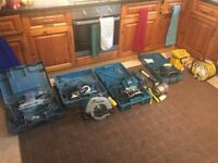 Makita & Bosch skillsow, routers , lights,sander, planner job lot GREAT CONDITION