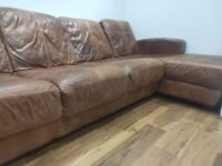 Large L shaped leather couch
