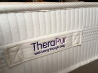 Small Double Bed Mattress, Divan and Faux Leather Head Board- used for only a few nights sleep only