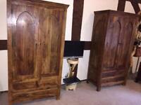 Solid Sheesham wood furniture bedroom wardrobe drawers bedside unit table