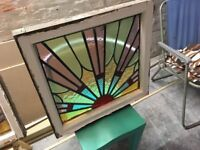 1930's Art Deco 'Sunburst' leaded / stained glass window x 2