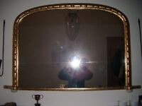 MIRROR - ANTIQUE genuine original overmantle gold leaf mirror