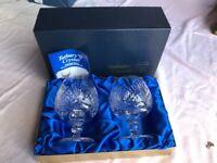 Boxed pair of 'Tutbury Brandy Glasses' very heavy quality Full Lead Handcut glass ....Unused