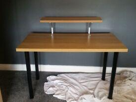 Desk with shelf for tv