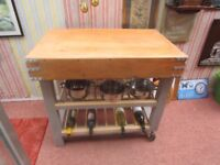 BESPOKE NEWLY HAND MADE KITCHEN ISLAND BUTCHERS BLOCK STYLE TABLE ON WHEELS 36ins X 23ins X 34ins