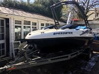 SEADOO SPEEDSTER BOMBARDIER JET BOAT MONSTER TOWER TRAILER AND COVER LED LIGHTS