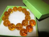New-Real Yellow Round 16mm Baltic Amber Beads Bracelet - Poland