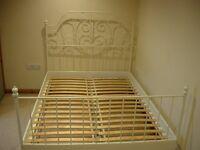 Ikea Leirvik, Metal Double Bed, White.