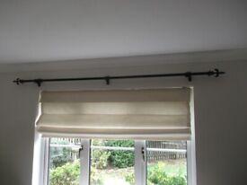 Black Curtain Pole - black fleur de lys finials