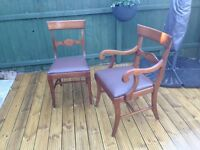 Six Dining Chairs - 2 carvers and 4 side chairs (Made in Chicago)