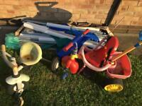 Free 12ft trampoline poles and two baby bikes