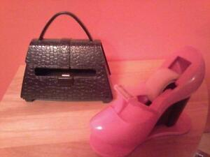 pink shoe tape dispenser and black purse note paper dispenser London Ontario image 1