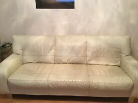 Cream leather 3 seater & 2 seater sofa with matching footstool