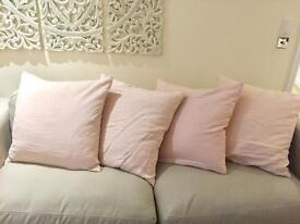 Four Very Large Loaf Pink Cushion Covers & Feather Filled Cushions.