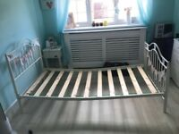 Cream butterfly single bed frame
