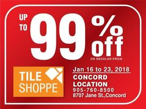 TILE SHOPPE CONCORD SALE (Up to 99% off on regular price) Marble,Porcelain,Ceramic,Laminate,Hardwood,Engineered wood