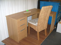 Large Corner Desk - Oak Effect and Chair. (Please call - 07851770393 Michal)