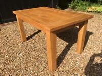 Vintage Solid Oak Wood Family Farm House Dining Kitchen Table with Chucky Solid Oak Square Legs