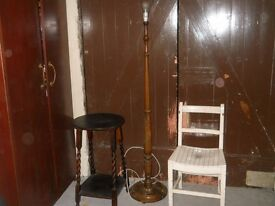 wooden standard lamp, table and chair