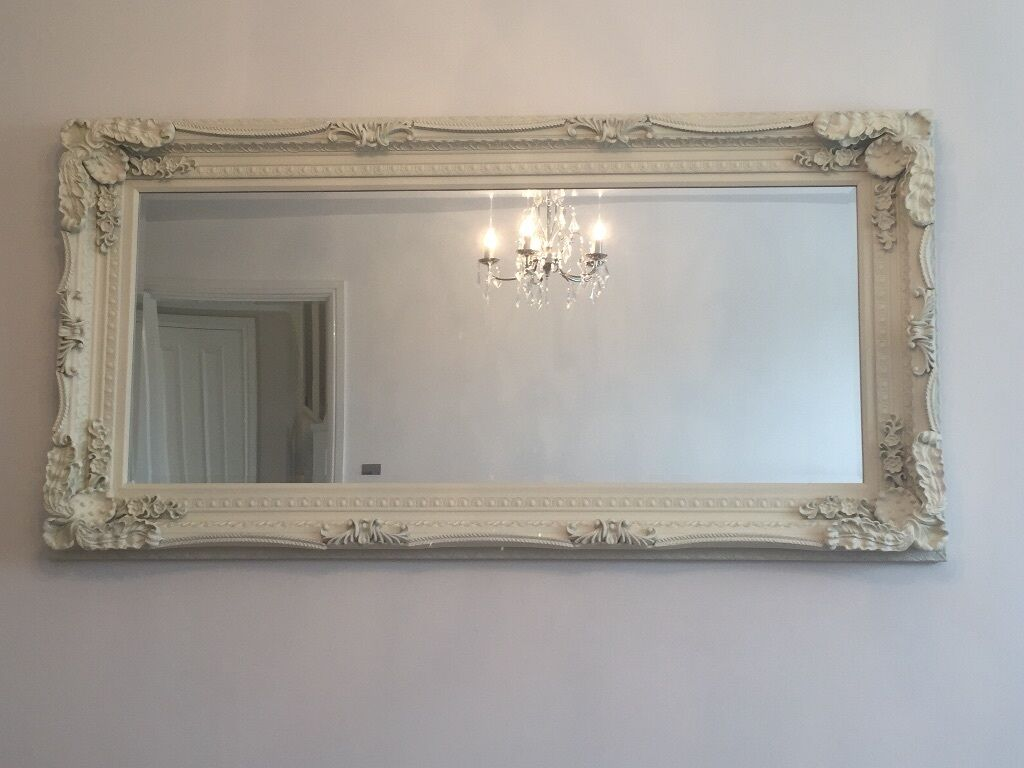 X large shabby chic cream wall floor mirror in for Floor wall mirror