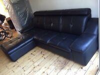 BLACK LEATHER COUCH WITH CHAISE LOUNGE