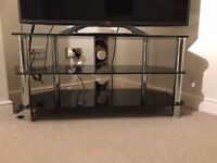 High quality TV Stand - Tempered Glass with chrome look- very modern - great condition - Altrincham