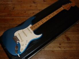 Fender USA Stratocaster 1974 with Bare Knuckle pickups, candy apple blue refinish, lightweight