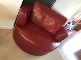 Beautiful red leather sofa