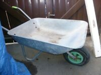 galvanized metal wheelbarrow