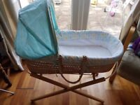 Moses basket, mattress, reflux pillow, and fitted sheets