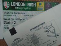 London Irish v Saracens x2 tickets ~ 29 April 15:00 at Reading